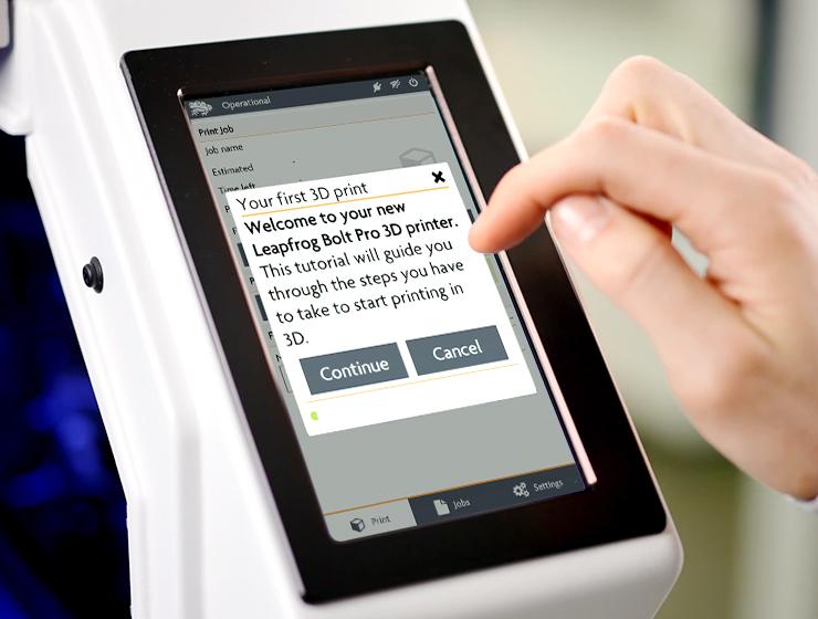 Leapfrog 3d Printer Bolt Pro Intelligent User Interface